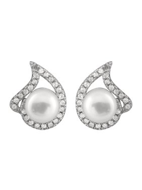 6b689a636 Product Image Fancy Cubic Zirconia Freshwater Pearl Earrings - White