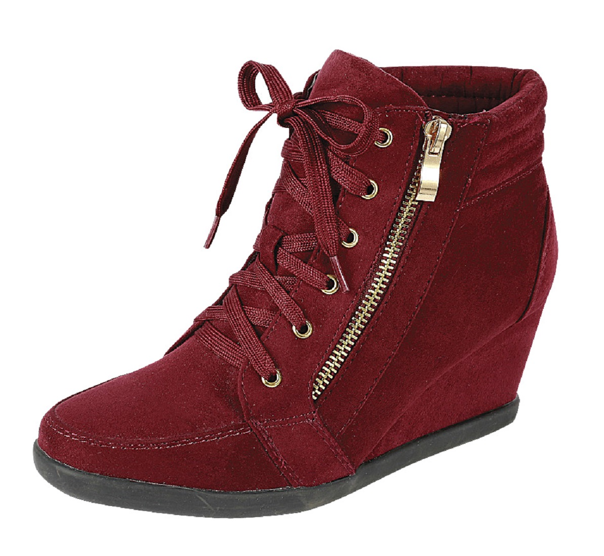 Peggy-56 Womens Hidden Wedge Low Mid Heel Ankle Boots Sneakers Zip up Lace Up Trainers Shoes Burgundy