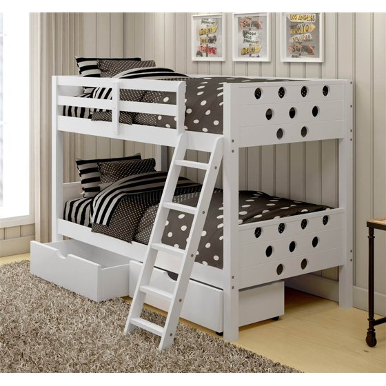 circles twin over twin bunk bed with drawers in white. Black Bedroom Furniture Sets. Home Design Ideas