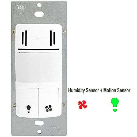 Enerlites dwhos w 2 in 1 humidity sensor and motion detector switch controls both bathroom fan Humidity activated bathroom fan