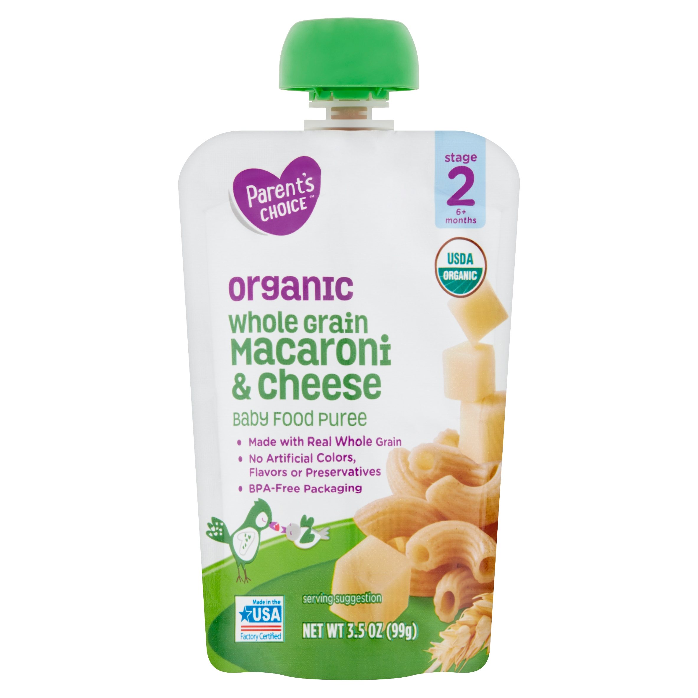 Parent's Choice Organic Whole Grain Macaroni & Cheese, Stage 2, 3.5 oz Pouch