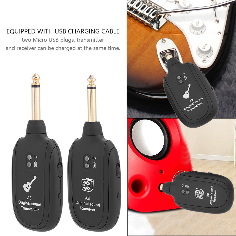 HURRISE Wireless Audio Transmission Set with Receiver Transmitter for Electric Guitar Bass Violin