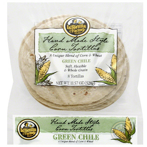 La Tortilla Factory Hand Made Style Green Chile Corn Tortillas, 8 count, 11.57 oz, (Pack... by
