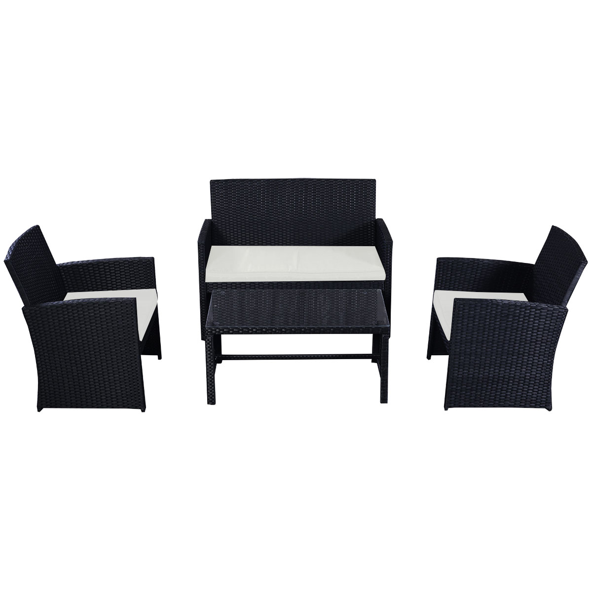 black rattan sofa rattan effect 3 seater mini corner sofa. Black Bedroom Furniture Sets. Home Design Ideas