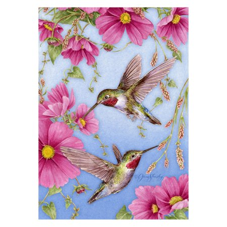 Toland Home Garden Hummingbirds with Pink Flag (Pink Floyd Flag)