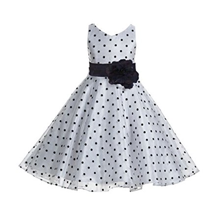 Pageant Polka Dot - Ekidsbridal Polka Dot V-Neck Rhinestone Organza Flower Girl Dress Pageant Gown Birthday Girl Dress Evening Gown Holiday Dress Ballroom Gown Princess Dress Easter Summer Dresses Graduation Dress 184T