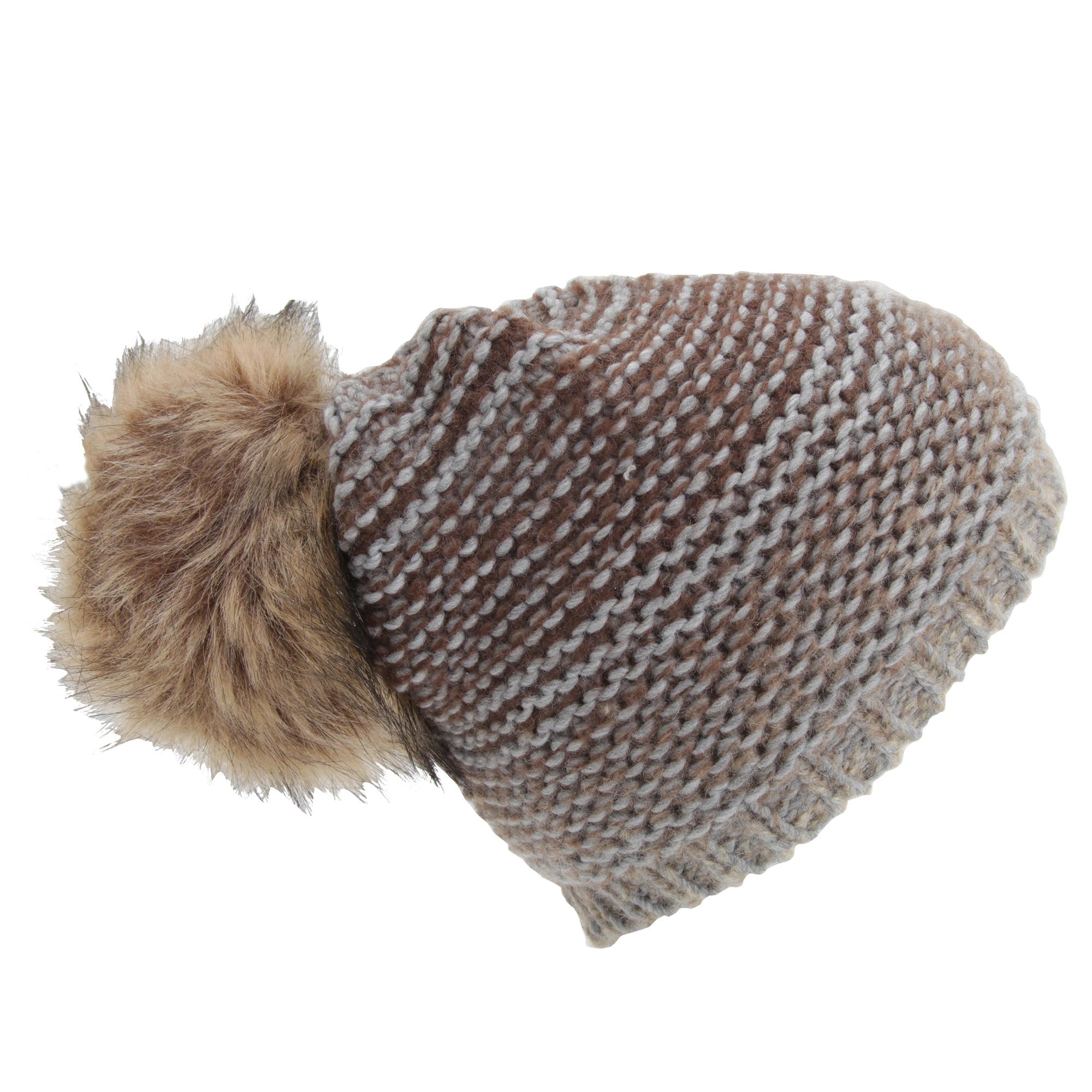 7c40ca1d Womens/Ladies Ombre Knit Winter Beanie Hat With Faux Fur Pom Pom