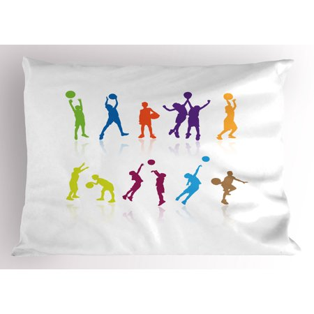 Youth Pillow Sham Colorful Silhouettes of Children Jumping and Playing Basketball with Reflections, Decorative Standard Size Printed Pillowcase, 26 X 20 Inches, Multicolor, by Ambesonne