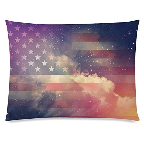 ZKGK Galaxy Space Nebula Home Decor, America Flag Soft Pillowcase 20 x 30 Inches,Cloud... by ZKGK