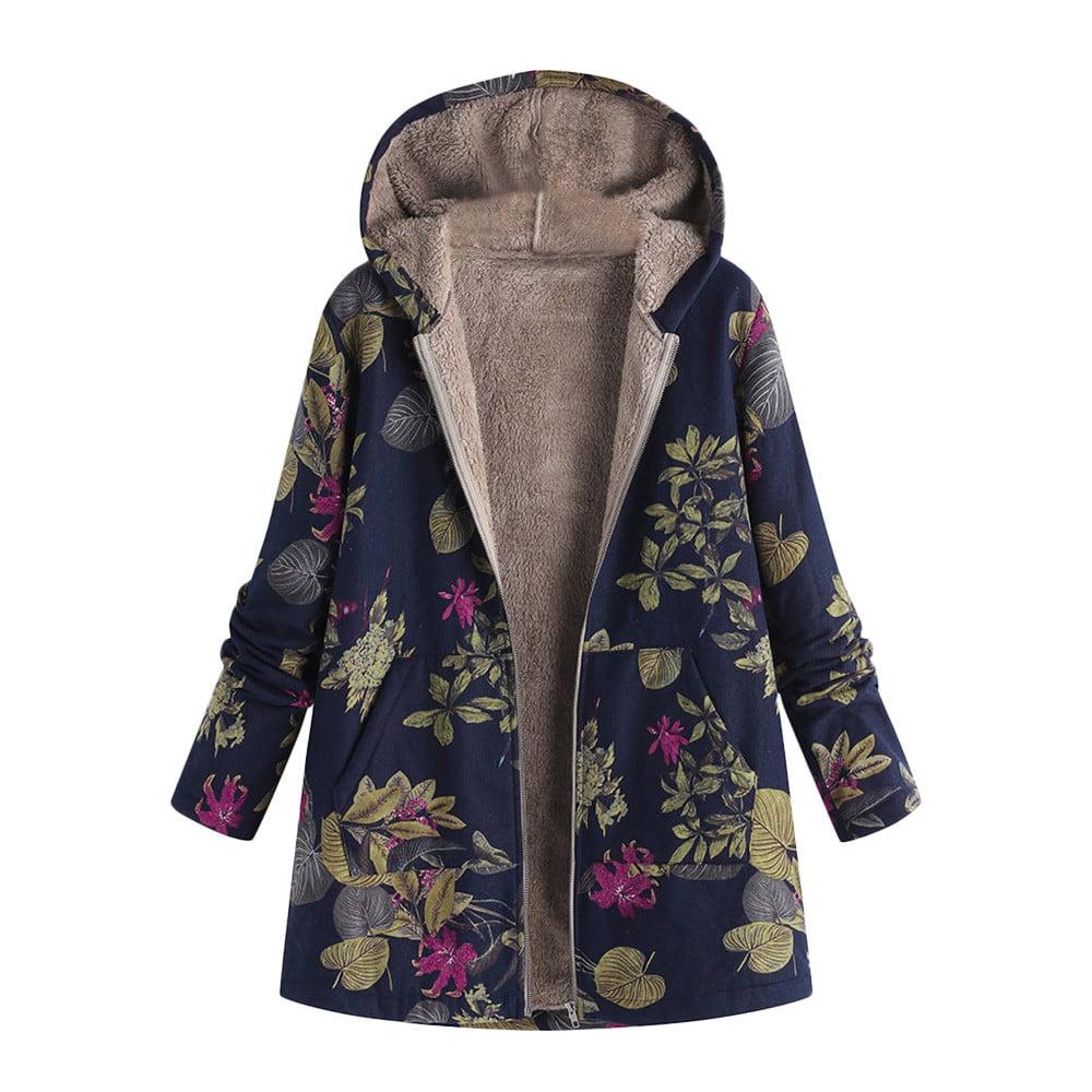 Matoen Baby Boy Girl Floral Print Winter Warm Jacket Zipper Hooded Windproof Coat