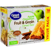 Great Value Fruit & Grain Bars, Apple Cinnamon, 1.3 oz, 16 Count