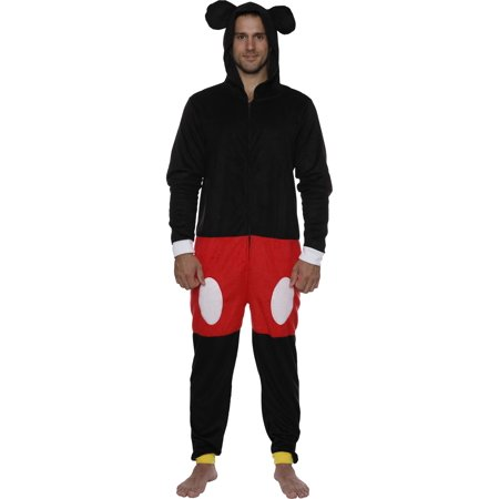 Disney Mickey Mouse Men Hooded Union Suit Pajama Costume, Black, Size: S/M