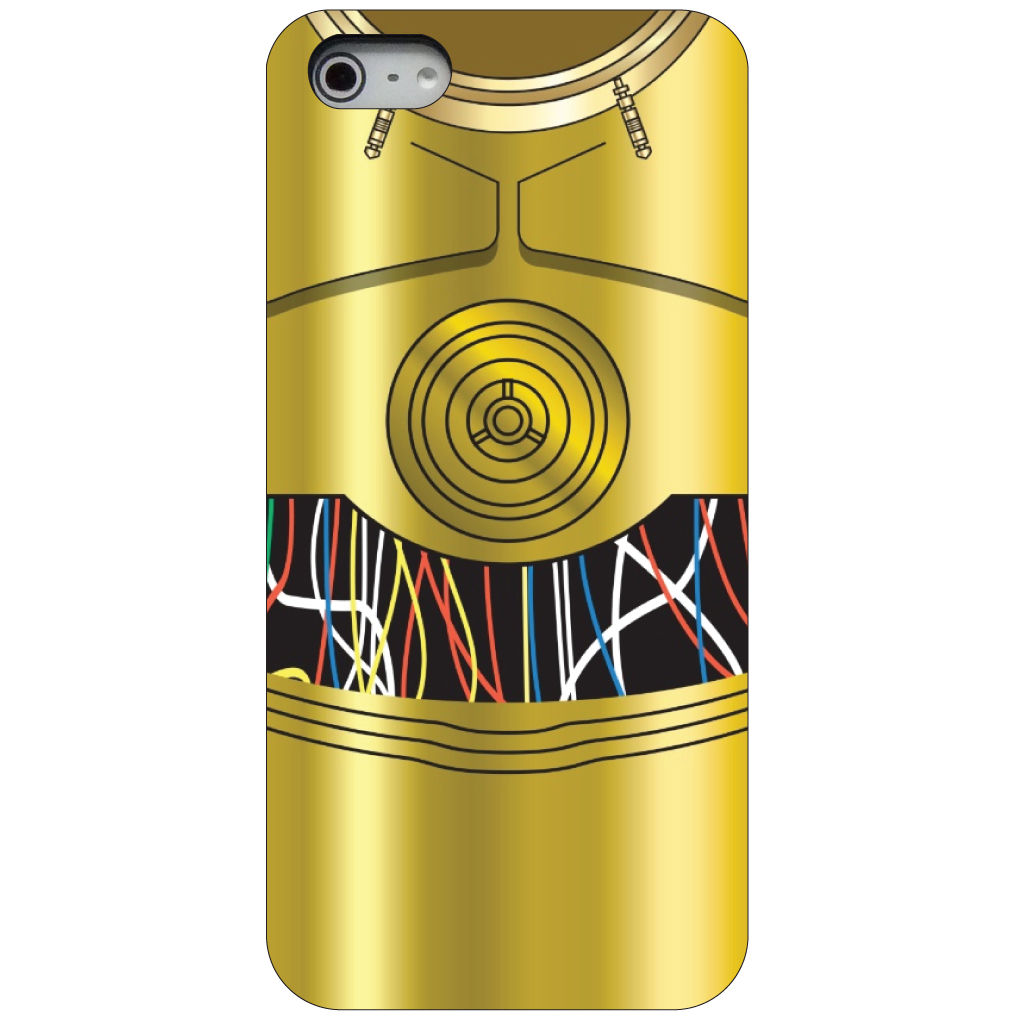 CUSTOM Black Hard Plastic Snap-On Case for Apple iPhone 5 / 5S / SE - C3PO-inspired gold with wires