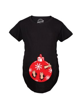 product image maternity christmas ornament baby pregnancy tshirt cute xmas holiday tee for mom to be - Maternity Christmas Shirts