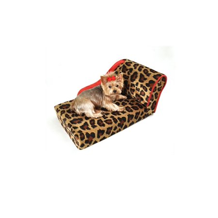 Leopard Chaise Lounge - Leopard with Sangria Trim Pet Chaise Lounge Bed
