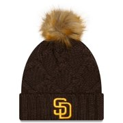 San Diego Padres New Era Women's Luxe Cuffed Knit Hat with Pom - Brown - OSFA