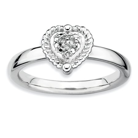 Sterling Silver Stackable Expressions Heart Diamond Ring Size 8 - image 3 de 3