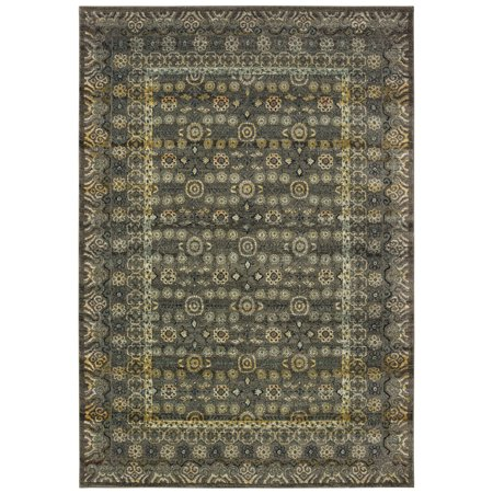 Moretti Klein Area Rugs - 507N7 Contemporary Grey Dotted Bulbs Vines Iris (Vine Dot)