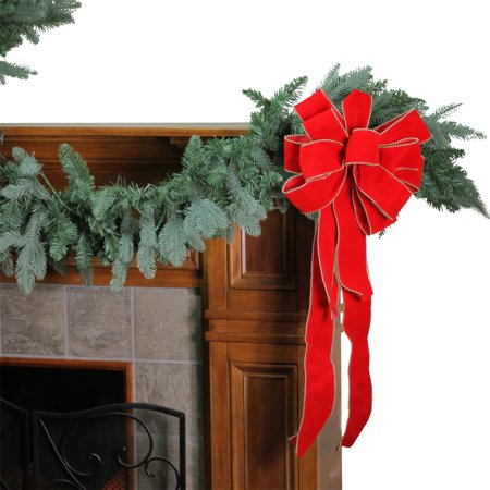 - Northlight 10 Loop Velveteen Beaded Trim Christmas Bow Decoration