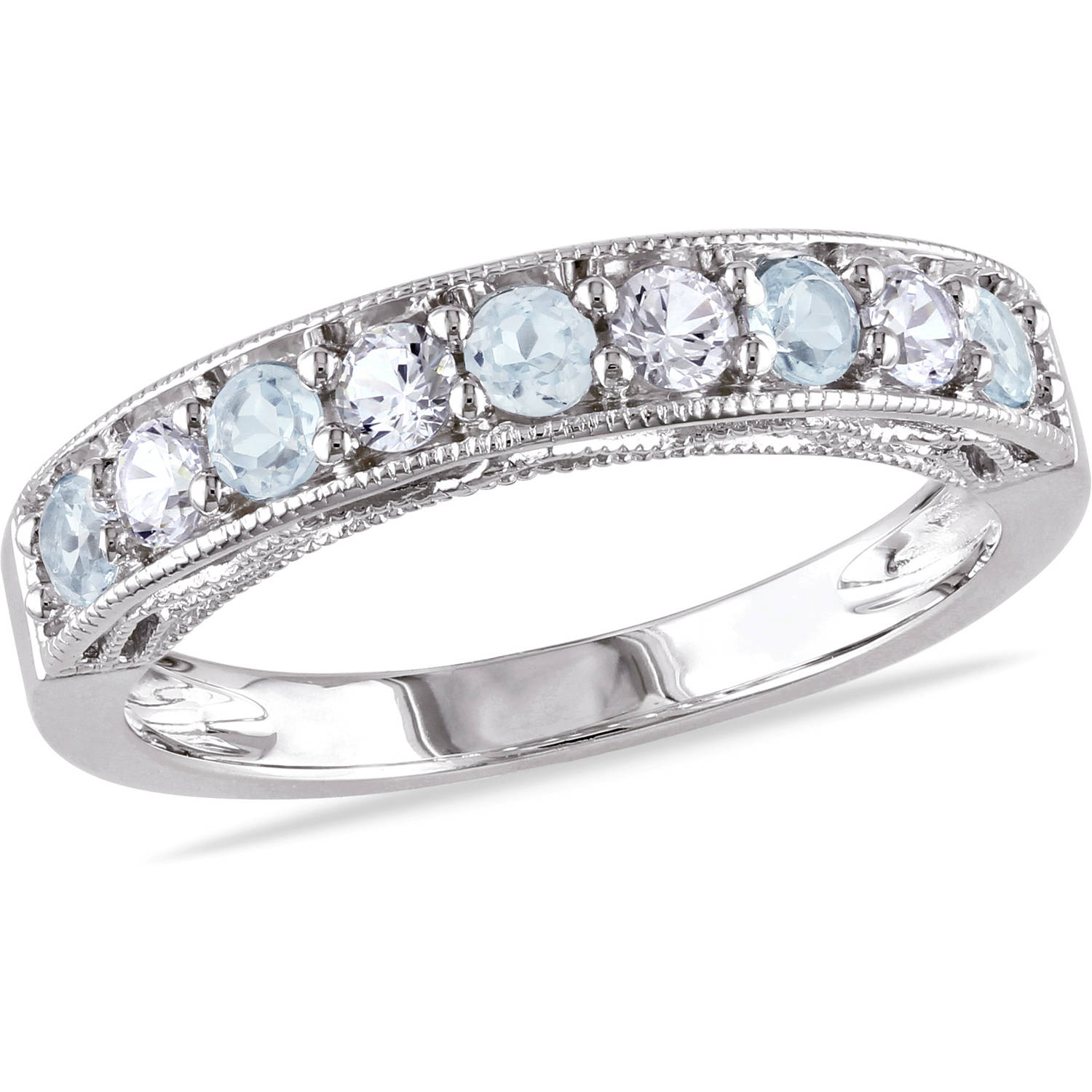 Tangelo 7/8 Carat T.G.W. Blue Topaz and Created White Sapphire Sterling Silver Semi-Eternity Anniversary Ring