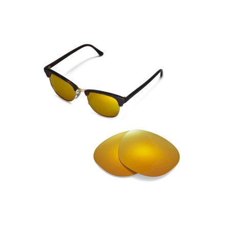878318804414c Walleva - Walleva 24K Gold Polarized Replacement Lenses for Ray-Ban  Clubmaster RB3016 51mm Sunglasses - Walmart.com