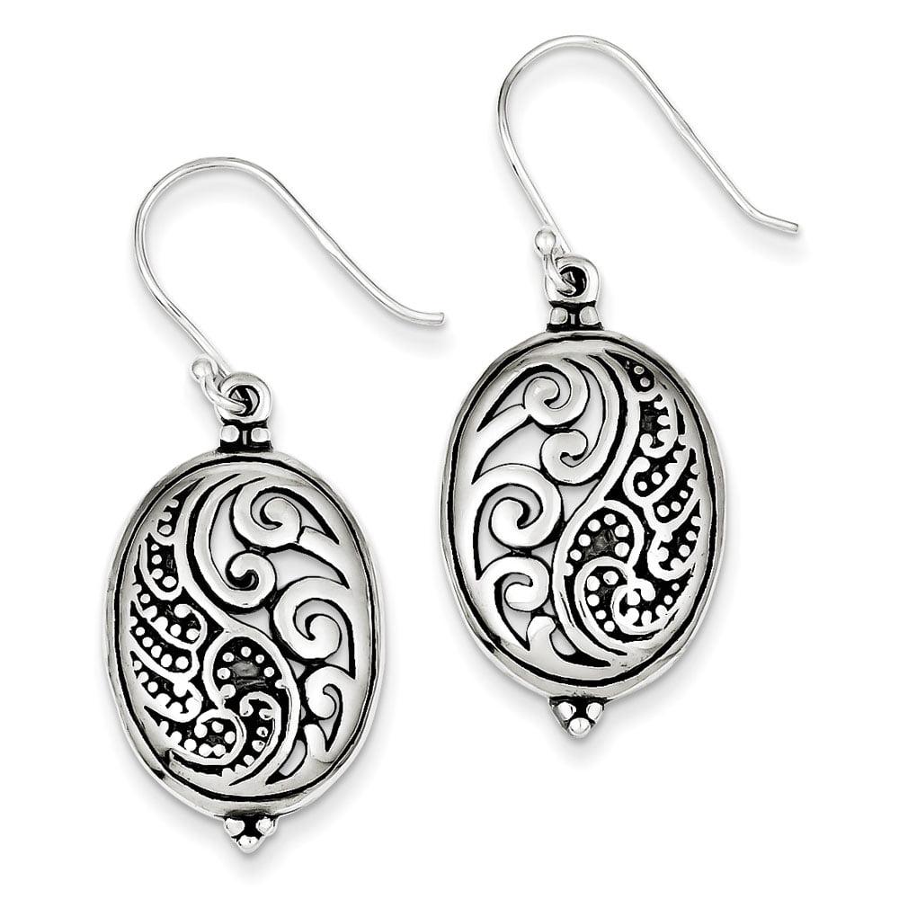 Sterling Silver Antique Oval Ying Yang Dangle Earrings