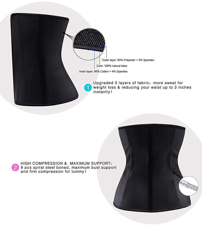 6351bae2d4a YIANNA - YIANNA Women s Underbust Latex Sport Girdle Waist Training Corset  Hourglass Body Shaper Black