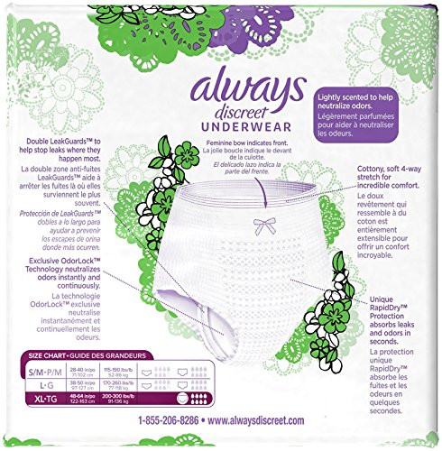 Always Discreet, Incontinence Underwear, Maximum Classic Cut, Extra-Large, 15 ct