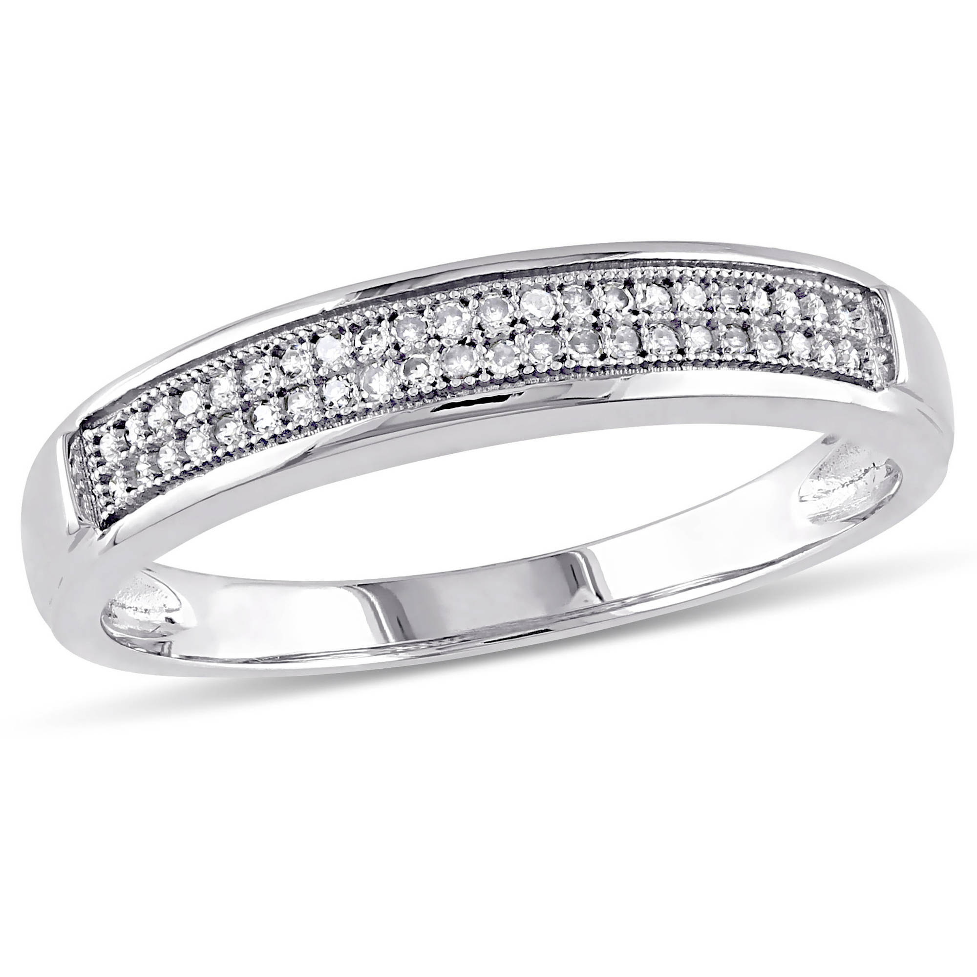 Miabella 1 8 Carat T.W. Diamond Men's Wedding Band in 10kt White Gold by Generic