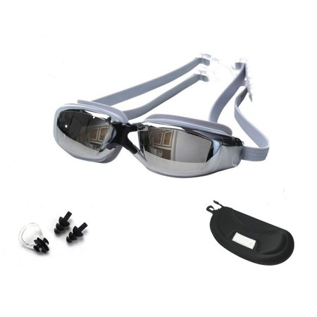 Swim Goggles for Adult Unisex No Leaking Clear-UV Protection, Anti-Fog, Mirror Coated Lens Swimming Goggles with Protection