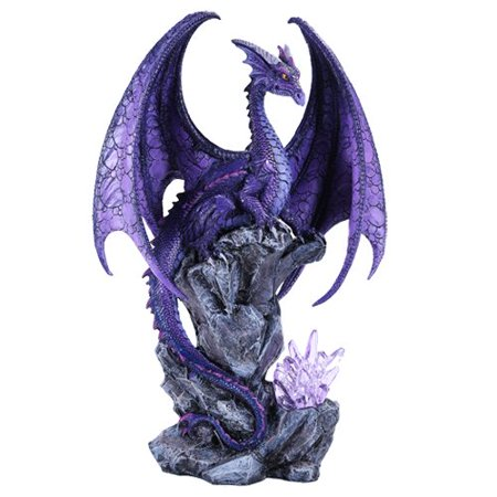 "Large Winged Purple Dragon with LED Light Purple Crystal Rock 18""h"