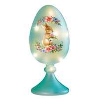 Collections Etc Lighted Bunny with Flowers Frosted Glass Blue Egg on Pedestal, Festive Easter Tabletop Decoration