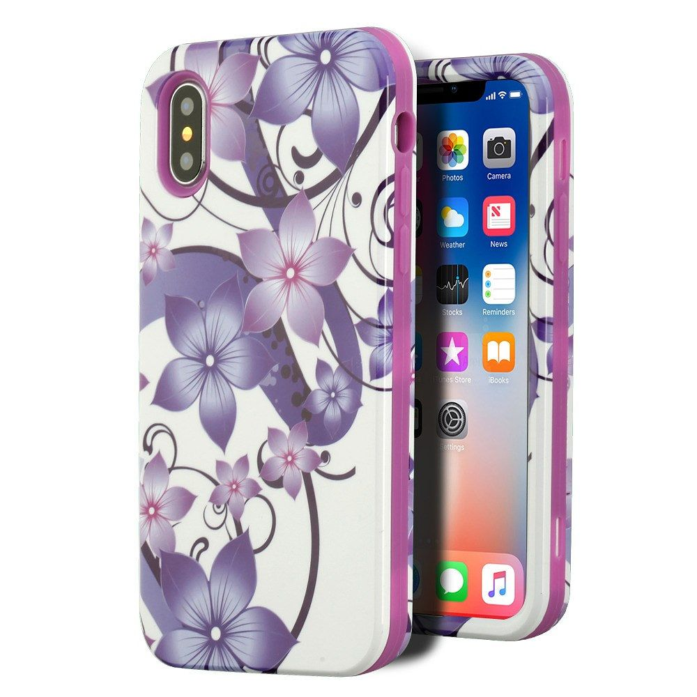 iPhone X Case Screen Protector Combo, by Insten Hibiscus Flower Hard Dual Layer Plastic TPU Cover Case For Apple iPhone 10 iPhone X 2017 - Purple (Bundle with Screen Privacy Filter)