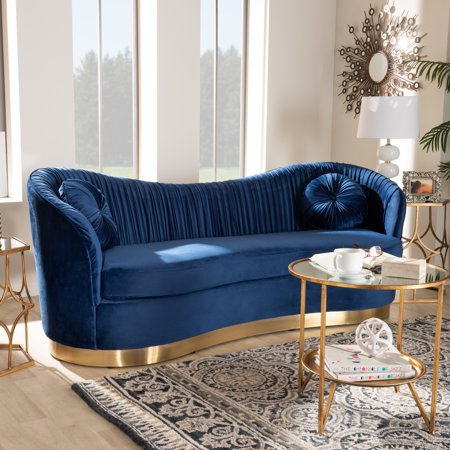 Baxton Studio Nevena Glam Royal Blue Velvet Fabric Upholstered Gold-Finished Sofa