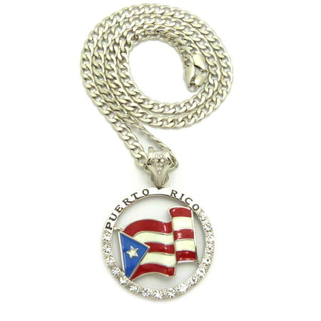 Round Hollow Rolo Chain - Puerto Rico Flag Hollow Round Stone Studded Pendant w/ 7mm 30