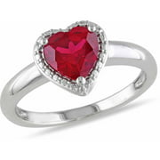 1-5/8 Carat T.G.W. Created Ruby Sterling Silver Heart Engagement Ring