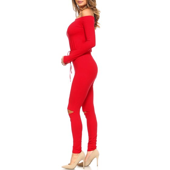 db591d159c9a Genx - Womens Long Sleeve Off Shoulder knee cut Tight Jumpsuit SB-264 -  Walmart.com