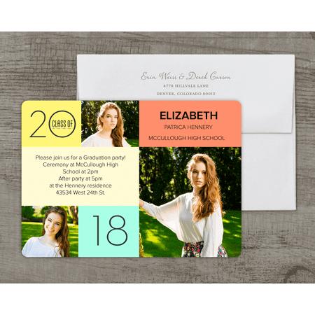 Personalized Graduation Invitation - Color Block Mosaic - 5 x 7 Flat Deluxe](Block Party Invitation)