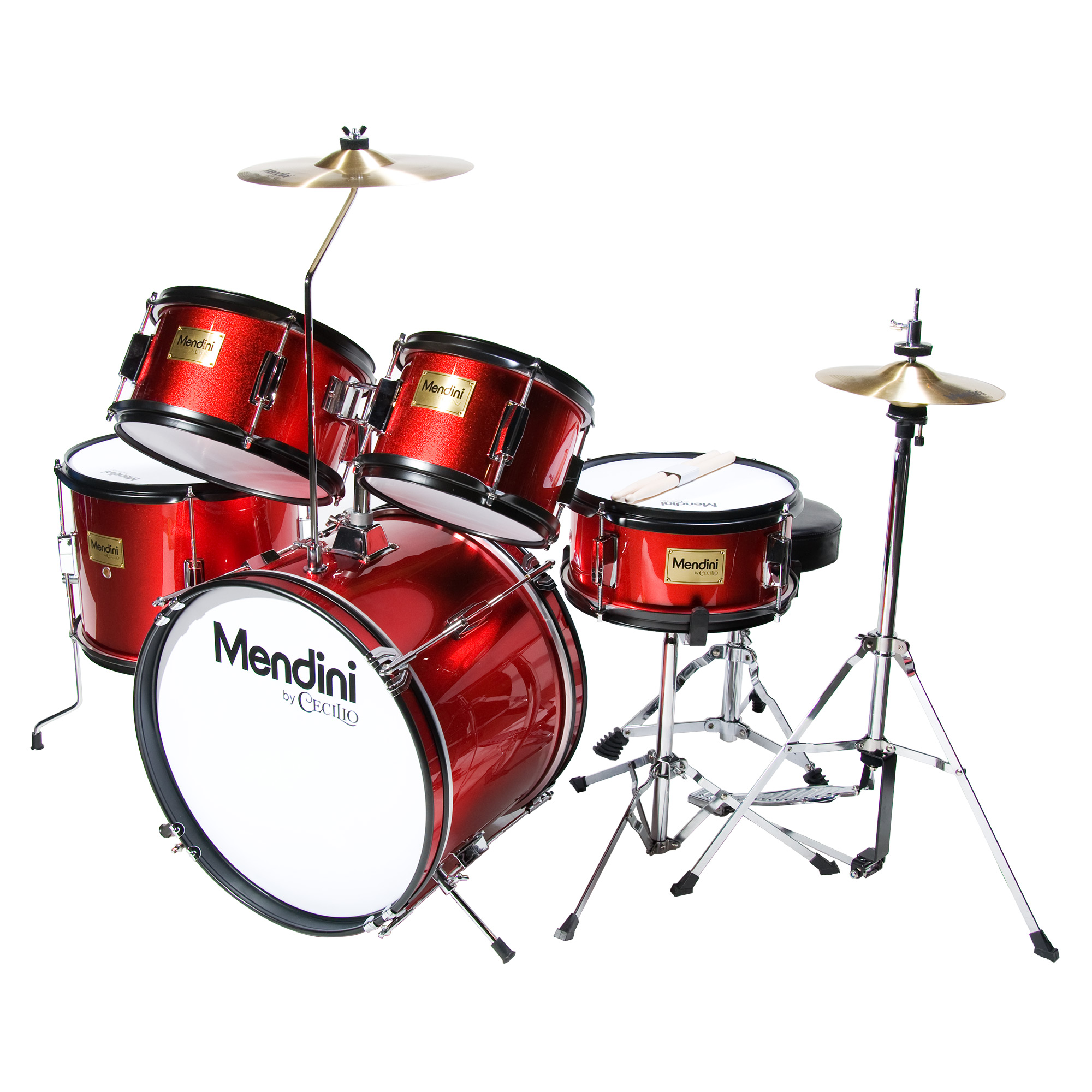 """Mendini by Cecilio 16"""" 5-Piece Complete Kids / Junior Drum Set with Adjustable Throne, Cymbal, Pedal & Drumsticks, Metallic Bright Red, MJDS-5-BR"""