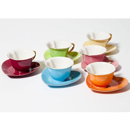 Yedi Housewares 3 Ounce Inside Out Heart Cup and Saucer, Set of 6, Multi (Cup & Saucer Holder)