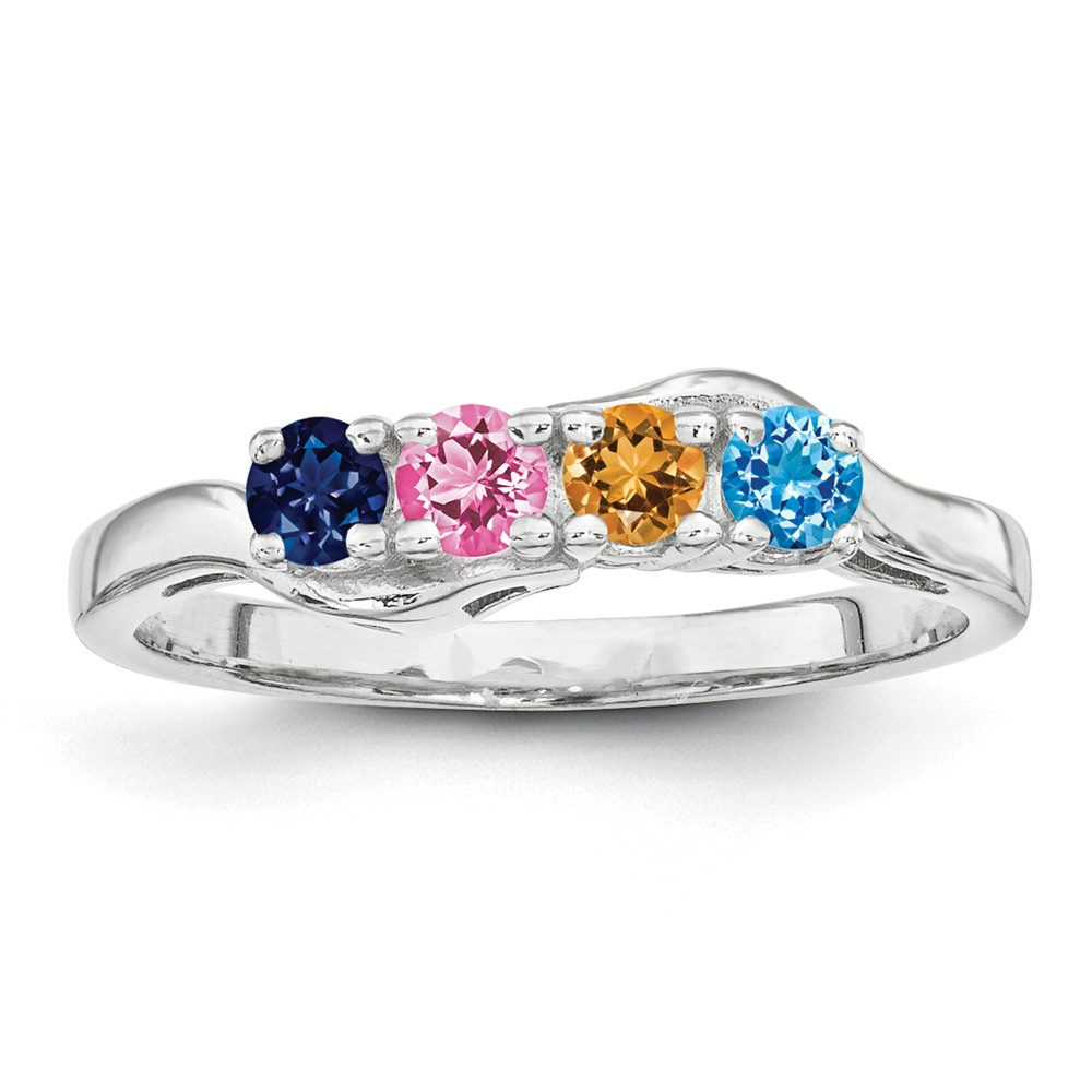 925 Sterling Silver Synthetic 4 Stone Mothers Ring