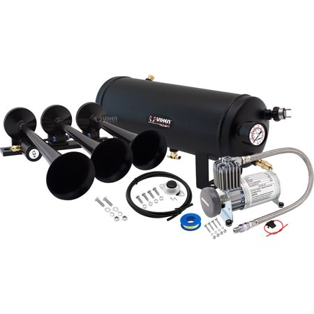 Vixen Horns Loud 149dB 3/Triple Black Trumpet Train Air Horn with 1.5 Gallon Tank and 150 PSI Compressor Full/Complete Onboard System/Kit (Complete Train Horn)