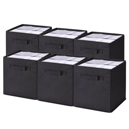 6 Pack Foldable Storage Bins With Labels Nonwoven Fabric