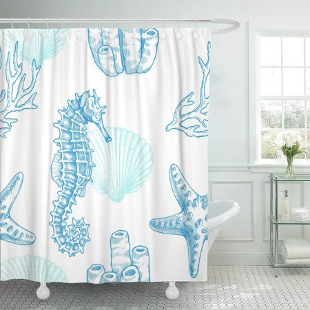 Marina Satin Shower Curtain - PKNMT Reef Sea Life Vintage of Seahorse Starfish Coral Sprigs and Seashell Marine Shell Shower Curtain 60x72 inches