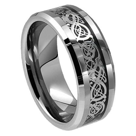 8mm For Men or Ladies - Celtic Knot Dragon over Black Carbon Fiber Inlay Tungsten Carbide Wedding Band Ring Black Gold Celtic Bands