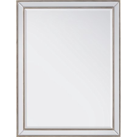 Wall Mirror JOHN-RICHARD Antique Silver Wood Frame Beveled Moldings New