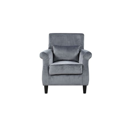 Vintage Style Velvet Grey Armchair With Scroll Arms