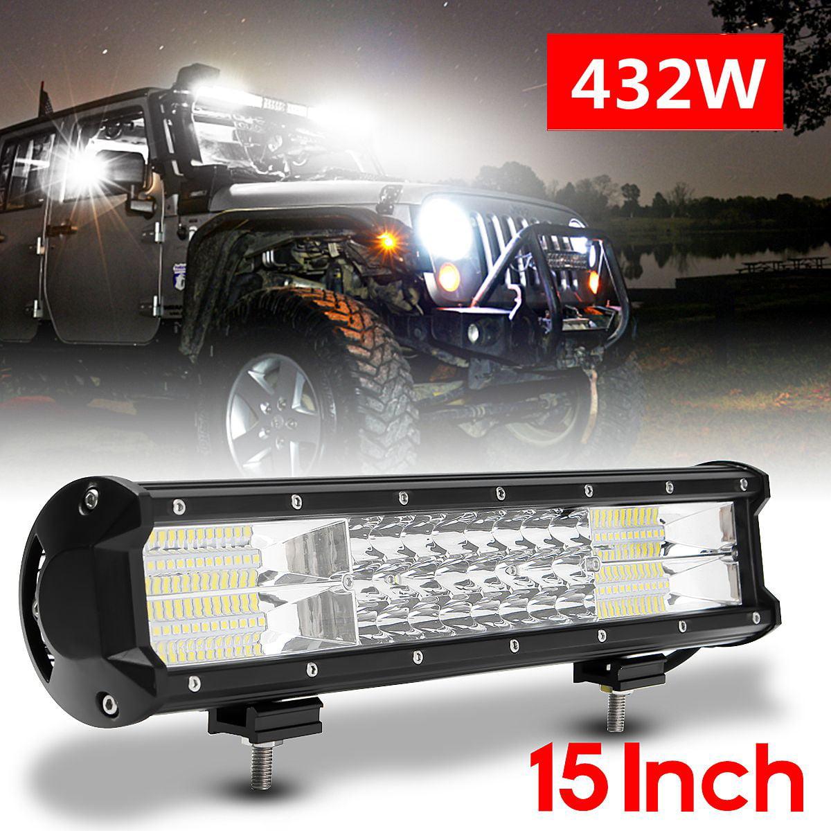 15'' 432W 72 LED Car LED Work Light Bar Flood Combo Strip Driving Night Lamps Fog Light for Off Road  SUV