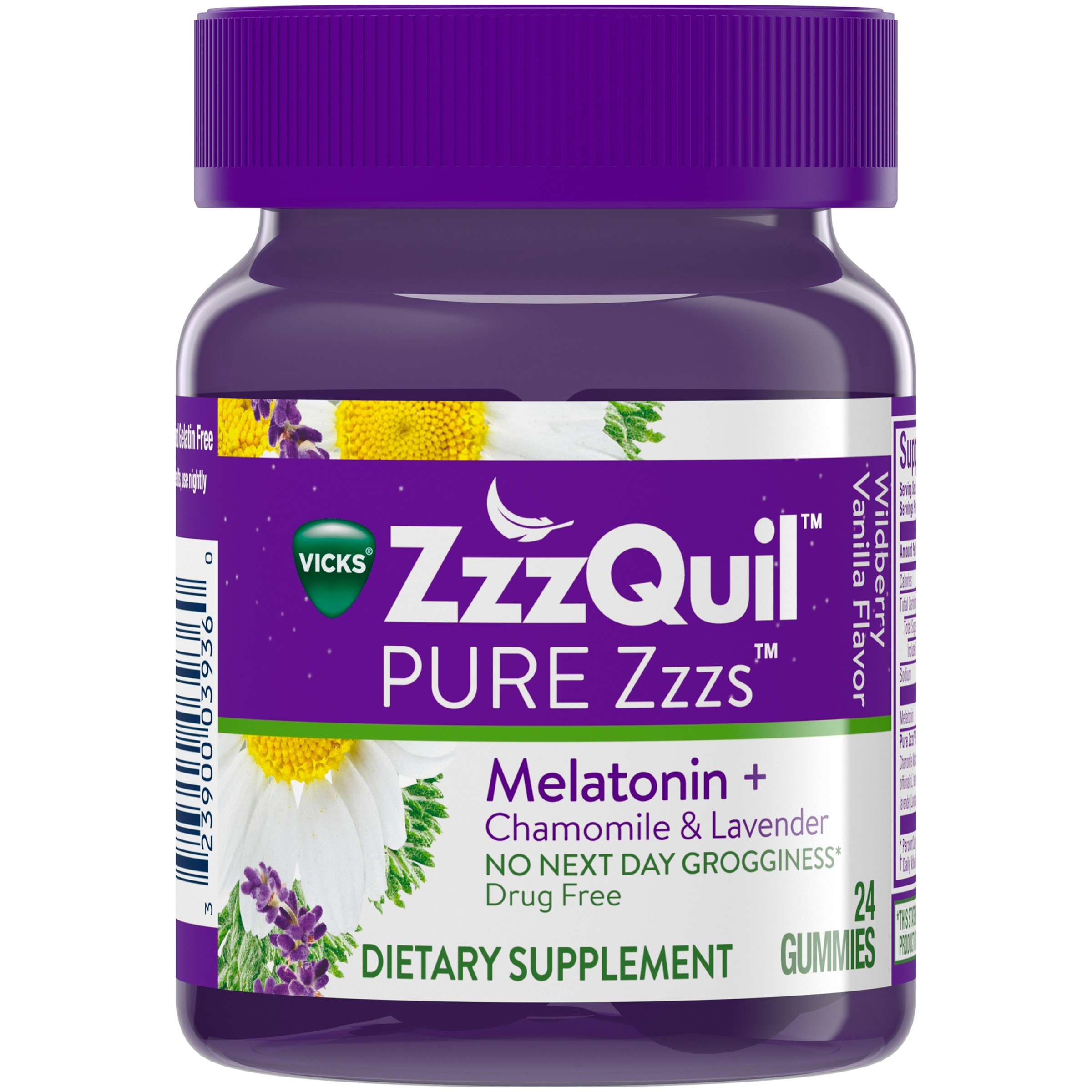 Vicks ZzzQuil PURE Zzzs Melatonin Sleep Aid Gummies, 24 Count