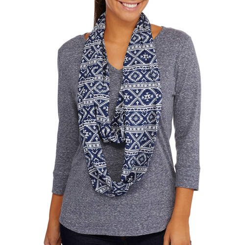Tru Self Women's 2-Fer 3/4 Sleeve T-Shirt with Infinity Scarf